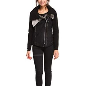Desigual Faux Shearling Double Collar Jacket
